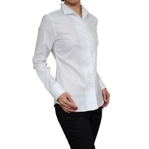 レディースシャツ ブラウス レディースワイシャツ レディース シャツ ビジネス 長袖 ホワイト 白 プレミアムコットン イージーケア イタリアンカラー 日本製|ozie