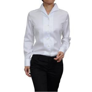 レディースシャツ ブラウス レディースワイシャツ  ビジネス 長袖 ホワイト 白 形態安定 イタリアンカラー 無地 日本製 大きいサイズ おしゃれ|ozie