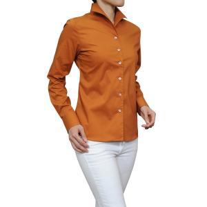 レディース シャツ ビジネス ワイシャツ ブラウス 長袖 イタリアンカラー テラコッタ 日本製 ナチュラルフィット トップス 大きいサイズ おしゃれ|ozie