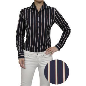 レディース シャツ ビジネス ワイシャツ ブラウス 長袖 イタリアンカラー ネイビー 紺 ストライプ 日本製 ナチュラルフィット トップス 大きいサイズ おしゃれ|ozie