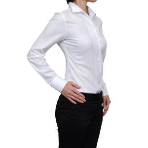 レディース シャツ ビジネス ワイシャツ ブラウス 長袖 イタリアンカラー ホワイト 白 無地 日本製 ナチュラルフィット トップス 大きいサイズ おしゃれ|ozie
