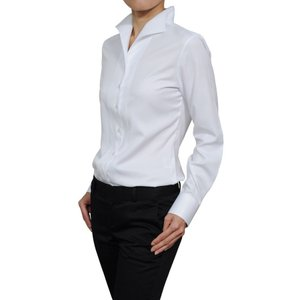 レディース シャツ ビジネス ワイシャツ ブラウス 長袖 イタリアンカラー ホワイト 白 無地 日本製 ナチュラルフィット イージーケア 速乾 トップス おしゃれ|ozie