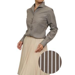 レディース シャツ ビジネス ワイシャツ ブラウス 長袖 イタリアンカラー ブラウン 茶色 ストライプ 日本製 ナチュラルフィット トップス 大きいサイズ おしゃれ|ozie