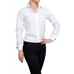 レディースシャツ ナチュラルフィット 長袖 ダブルカフス プレミアムコットン 形態安定 ワイドカラー 日本製|ozie