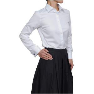 レディースシャツ ワイシャツ ブラウス ビジネス 長袖  白シャツ ダブルカフス ワイドカラーシャツ クールマックス イージーケア 日本製 スリム トップス|ozie