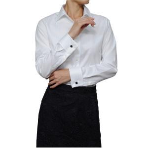 レディースシャツ ワイシャツ ブラウス ビジネス 長袖  白シャツ ダブルカフス ワイドカラーシャツ プレミアムコットン 日本製 トップス 3L 大きいサイズ|ozie