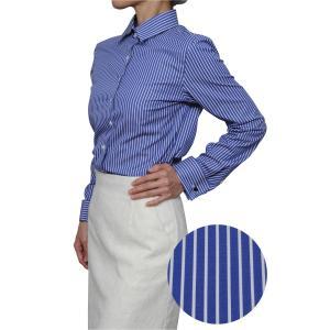 レディースシャツ ワイシャツ ブラウス ビジネス 長袖 ダブルカフス ワイドカラーシャツ ブロード 日本製 トップス 3L 大きいサイズ ブルー 青|ozie