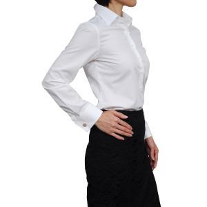 レディースシャツ ワイシャツ ブラウス ビジネス 長袖  白シャツ ダブルカフス ワイドカラーシャツ プレミアムコットン イージーケア 大きいサイズ 日本製|ozie