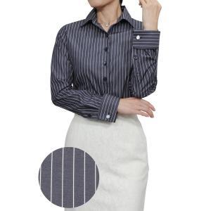 レディースシャツ ワイシャツ ブラウス ビジネス 長袖 ネイビー 紺 ダブルカフス ワイドカラーシャツ プレミアムコットン 大きいサイズ おしゃれ 日本製|ozie