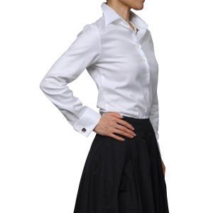 レディースシャツ ワイシャツ ブラウス ビジネス 長袖 ホワイト 白 ダブルカフス ワイドカラーシャツ プレミアムコットン 大きいサイズ おしゃれ 日本製|ozie