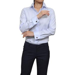 レディースシャツ ワイシャツ ブラウス ビジネス 長袖 サックスブルー 青 ダブルカフス ワイドカラーシャツ プレミアムコットン 大きいサイズ おしゃれ 日本製|ozie