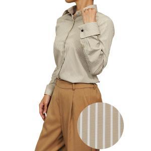 レディースシャツ ワイシャツ ブラウス ビジネス 長袖 ベージュ ダブルカフス ワイドカラーシャツ プレミアムコットン 大きいサイズ おしゃれ 日本製|ozie