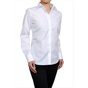 レディースシャツ ナチュラルフィット 長袖 プレミアムコットン 形態安定 ワイドカラー 日本製|ozie