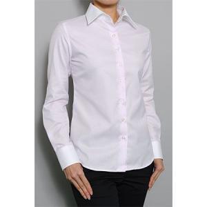 レディース シャツ ビジネス ワイシャツ ブラウス 長袖 ワイド クレリック 綿100% プレミアムコットン イージーケア 日本製 ナチュラルフィット トップス SALE|ozie