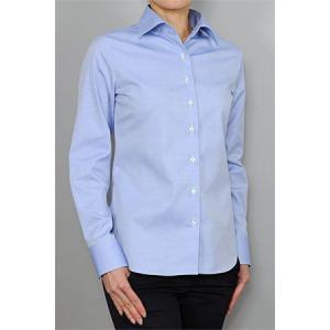 レディース シャツ ビジネス ワイシャツ ブラウス 長袖 ワイド 綿100% 形態安定 プレミアムコットン オックスフォード 日本製 ナチュラルフィット トップス|ozie