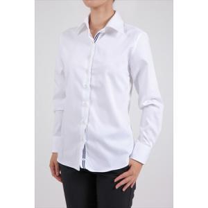 レディース シャツ ビジネス ワイシャツ ブラウス 長袖 白 ワイドカラー 形態安定 綿100% プレミアムコットン オックスフォード 日本製 ナチュラルフィット OL|ozie