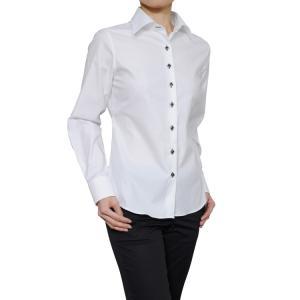 レディース シャツ ビジネス ワイシャツ ブラウス 長袖 白 ワイド 綿100% 120番手 プレミアムコットン イージーケア 日本製 ナチュラルフィット トップス|ozie