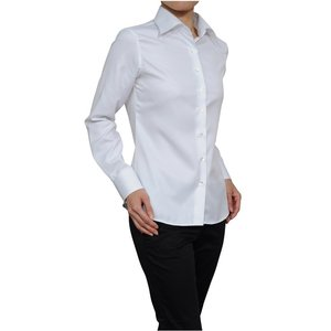 レディースシャツ ワイシャツ ブラウス ビジネス 長袖  白シャツ ワイドカラーシャツ ク−ルマックス イージーケア 日本製 ナチュラルフィット トップス 大きい ozie