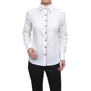 レディースシャツ ワイシャツ 白 オフィス ブラウス ビジネス 長袖 白シャツ ワイドカラー 形態安定 日本製 ナチュラルフィット トップス 大きい おしゃれ|ozie