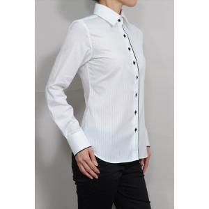 レディースシャツ ワイシャツ 白 オフィス ブラウス ビジネス 長袖 白シャツ ワイドカラーシャツ 形態安定 日本製 ナチュラルフィット トップス 大きい|ozie