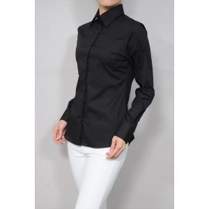 レディースシャツ ワイシャツ オフィス ブラウス ビジネス 長袖 ブラック 黒 ワイドカラーシャツ ストレッチ イージーケア 日本製 ナチュラルフィット トップス|ozie