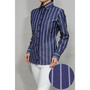 レディースシャツ ワイシャツ オフィス ブラウス ビジネス 長袖 ネイビー 紺 ワイドカラー 綿100% プレミアムコットン 日本製 ナチュラルフィット トップス|ozie
