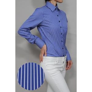 レディースシャツ ワイシャツ オフィス ブラウス ビジネス 長袖 ブルー 青 ワイドカラー 綿100% 日本製 ナチュラルフィット トップス|ozie