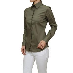 レディースシャツ ワイシャツ オフィス ブラウス ビジネス 長袖 ワイドカラー カーキ 緑 日本製 ナチュラルフィット トップス 大きいサイズ おしゃれ|ozie