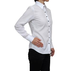 レディースシャツ ブラウス 長袖 ホワイト 白 ワイシャツ オフィス ビジネス ワイドカラー 日本製 ナチュラルフィット トップス 形態安定 大きいサイズ おしゃれ|ozie