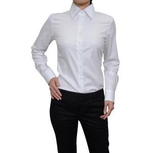 レディースシャツ ブラウス 長袖 ホワイト 白 ワイシャツ オフィス ビジネス ワイドカラー 日本製 ナチュラルフィット イージーケア 大きいサイズ おしゃれ|ozie