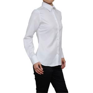 レディース シャツ ビジネス ワイシャツ ブラウス 長袖 ワイドカラー ホワイト 白 無地 日本製 ナチュラルフィット イージーケア 速乾 トップス おしゃれ|ozie