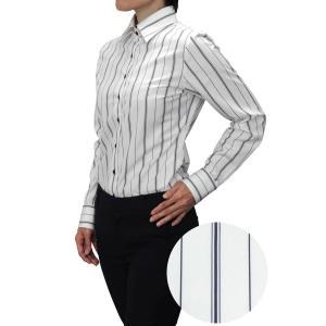 レディース シャツ ビジネス ワイシャツ ブラウス 長袖 ワイドカラー ホワイト 白 ストライプ 日本製 ナチュラルフィット トップス おしゃれ|ozie