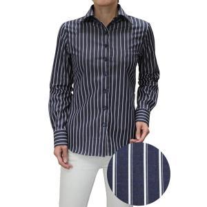 レディース シャツ ビジネス ワイシャツ ブラウス 長袖 ワイドカラー ネイビー 紺 ストライプ 日本製 ナチュラルフィット トップス おしゃれ|ozie