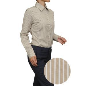 レディース シャツ ビジネス ワイシャツ ブラウス 長袖 ワイドカラー ベージュ ストライプ 日本製 ナチュラルフィット トップス おしゃれ|ozie
