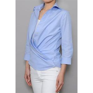 レディースシャツ ワイシャツ ブラウス カシュクール ビジネス 七分袖 ワイドカラー 綿100%  100番手双糸 日本製 ナチュラルフィット トップス おしゃれ SALE|ozie