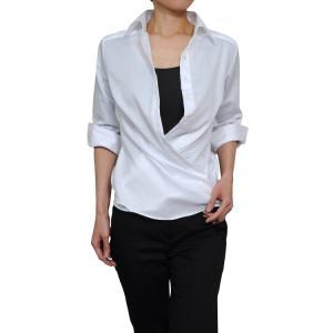 レディースシャツ ワイシャツ ブラウス カシュクール ビジネス 七分袖 白 ワイドカラー 綿100%  形態安定 日本製 ナチュラルフィット トップス おしゃれ OL|ozie