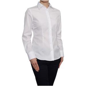 レディースシャツ スリムフィット 長袖 プレミアムコットン 形態安定 ワイドカラー 日本製|ozie