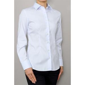 レディース シャツ ビジネス ワイシャツ ブラウス 長袖 ワイドカラー 綿100%  100番手 プレミアムコットン イージーケア 日本製 スリム トップス おしゃれ OL|ozie