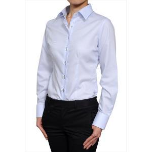 レディース シャツ ビジネス ワイシャツ ブラウス 長袖 ワイドカラー 綿100%  120番手 プレミアムコットン イージーケア 日本製 スリム トップス おしゃれ|ozie