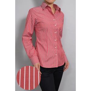 レディース シャツ ビジネス ワイシャツ ブラウス 長袖 ワイドカラー 綿100%  日本製 スリム トップス おしゃれ OL オフィス 赤 レッド ストライプ|ozie