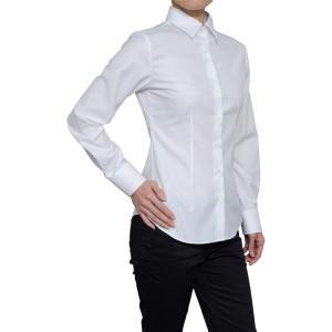 レディース シャツ ビジネス ワイシャツ ブラウス 長袖 白 ワイドカラー 綿100%  120番手 プレミアムコットン イージーケア 日本製 スリム トップス おしゃれ|ozie