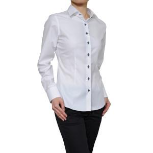レディース シャツ ビジネス ワイシャツ ブラウス 長袖 白 ワイドカラー 綿100%  120番手 プレミアムコットン イージーケア 日本製 スリム トップス おしゃれ 4L|ozie