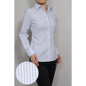 レディース シャツ ビジネス ワイシャツ ブラウス 長袖 白 ワイドカラー ストレッチ 綿100%  100番手 プレミアムコットン イージーケア 日本製 スリム トップス|ozie