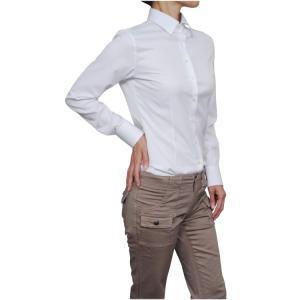 レディース シャツ ビジネス ワイシャツ ブラウス 長袖 白シャツ ワイドカラー クールマックス イージーケア 日本製 スリム トップス 大きいサイズ おしゃれ OL|ozie