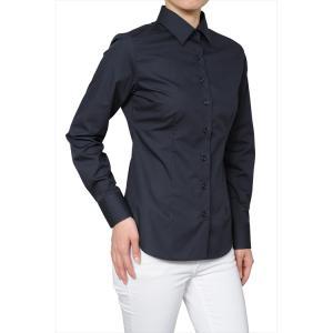 レディース シャツ ビジネス ワイシャツ ブラウス シャツ レディース 長袖 黒 ワイドカラー 形態安定 日本製 スリムフィット トップス 大きいサイズ|ozie