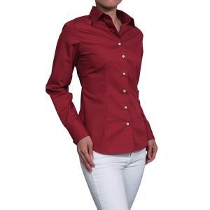 レディース シャツ ビジネス ワイシャツ ブラウス 長袖 赤 ワイドカラー 形態安定 日本製 スリムフィット トップス 大きいサイズ おしゃれ オフィス OL|ozie