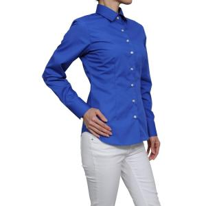 レディース シャツ ビジネス ワイシャツ ブラウス 長袖 青 ワイドカラー 形態安定 日本製 スリムフィット トップス 大きいサイズ おしゃれ オフィス OL|ozie