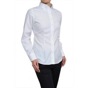 レディース シャツ ビジネス ワイシャツ ブラウス 長袖 白 ボタンダウン 形態安定 綿100% プレミアムコットン 日本製 スリム トップス 大きいサイズ おしゃれ 4L|ozie
