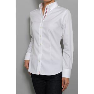 レディース シャツ ビジネス ワイシャツ ブラウス 長袖 白 ボタンダウン 形態安定 綿100% プレミアムコットン 日本製 スリム トップス 大きいサイズ おしゃれ|ozie