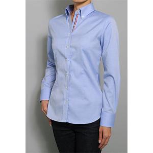 レディース シャツ ビジネス ワイシャツ ブラウス 長袖 ボタンダウン 形態安定 綿100% プレミアムコットン 日本製 スリム トップス 大きいサイズ おしゃれ OL|ozie